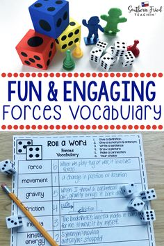 Forces Fun Interactive Vocabulary Dice Activity EDITABLE Your students will LOVE this vocabulary activity on Forces Rolling the dice makes it fun and engaging and they mi. Classroom Hacks, Math Classroom, Classroom Decor, Vocabulary Activities, Science Activities, Science Resources, Science Ideas, Critical Thinking Activities, Whole Brain Teaching