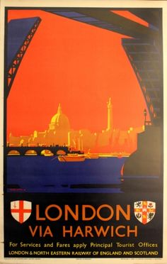 London via Harwich, 1930s - original vintage poster by Frank H Mason listed on AntikBar.co.uk