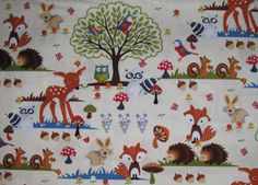 Woodland Scene fabric - racoons, rabbits, squirrels, mice, deer, hedgehogs, owls, rabbits and birds in the forest - YARD on Etsy, $9.25
