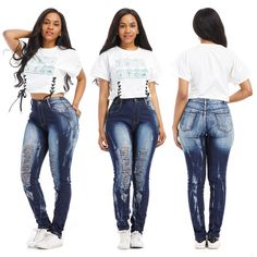 New Women Skinny Ripped Knee Denim Jeans Pants Hole Draped Destroyed High Waist Pencil Stretch Casual Trousers Womens Ripped Jeans, Denim Skinny Jeans, High Jeans, High Waist Jeans, Ladies Jeans, Skinny Waist, Casual Jeans, Jeans Style, Blue Jeans