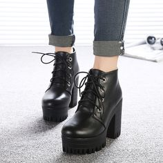 New Womens Punk Ankle Boots Chunky Heels Platform Pu Leather Biker Boots Shoes in Clothing, Shoes & Accessories, Women's Shoes, Boots Ankle Heels, Ankle Boots, Shoes Heels, Black High Heels, Black Shoes, Thick Heel Boots, Chunky Heels, Grunge Boots, Punk Boots