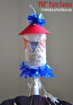 "4th of july party firework favors- childrens pops in push up pop container via www.karaspartyideas.com. Free ""Pop"" mini bunting banner download!"