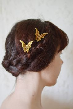 Butterfly hair pins hair clip gold hair by theancientmuse on Etsy