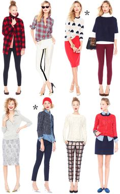 jcrew looks we love holiday christmas red plaid sequins heart metallic coat sweater pencil skirt trousers denim outfits J Crew Outfits, Mode Outfits, Denim Outfits, Skirt Outfits, Fall Outfits, Preppy Mode, Preppy Style, Style Me, Fashion Mode