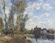 May Afternoon On The Loing 1888 Art Print by Sisley Alfred Renoir, Impressionist Landscape, Post Impressionism, Mary Cassatt, Claude Monet, Sisley Alfred, Charles Gleyre, Paul Gauguin, Beach Landscape