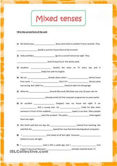 The above printable, downloadable handout is intended for high school students and adults at Pre-intermediate (A2) and Intermediate (B1) level. It is aimed at revising Verb tenses in English. - ESL worksheets