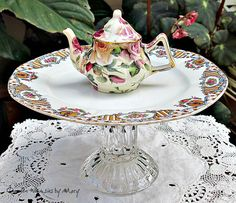 Mini Roses Teapot Pedestal Whimsy / by GardenWhimsiesByMary