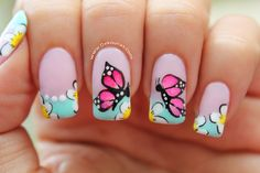 Decoración de uñas mariposas - Butterfly nail art. www. Dekounas.com Video - tutorial: https://www.youtube.com/watch?v=nhR4Q5RJyU4