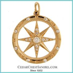Always find your way home 14Kt Yellow Gold Compass Rose Pendant with .20TW Diamonds, also available in White Gold