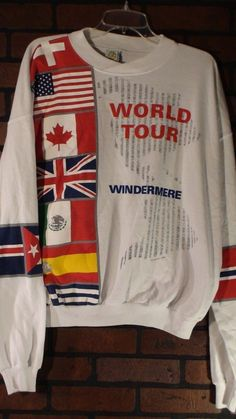 Vintage WINDERMERE World Tour Nation Flags Sweat Shirt Mens Size XL #Caribe #SweatshirtCrew