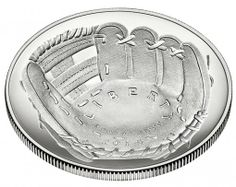 2014 National Baseball Hall of Fame Uncirculated Silver Dollar - Obverse, Angled The first curved coin ever produced by the US Mint.