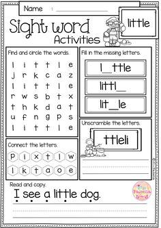 These sight word activities pages are perfect for Preschool, kindergarten and first graders. These sight word pages help children to learn sight word by spelling, reading, writing, finding and connecting letters. These pages are also perfect for classroom activities, morning work, word work and literacy centers.