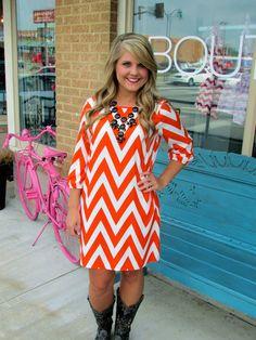 Kickoff Kisses - Orange and White #dress #hillarysboutique #boutique #gameday #chevron #bow