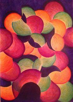 'Bewolkt' Papier en kleurpotloden 2014