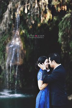 Pink Posh Photography | Austin Texas Engagement | Waterfall | Traditional Vietnamese Blue Ao Dai Dress with Lace and Sequins