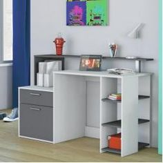 Mont Desk Home Etc Colour: White/Graphite grey White Desk With Drawers, Study Table Designs, Corner Writing Desk, Wood Computer Desk, Work Station Desk, Large Desk, Home Additions, Home Office Furniture, Storage Spaces