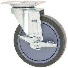TPR Rubber Caster Wheel with Swiveling Top Plate w/ Brake  - 5-Inch -  350 lb. Load Capacity  -  Non-Marking for Hospitals, Food Service, & Other Institutional Applications Titan Casters by Waxman http://www.amazon.com/dp/B001W6Q4M4/ref=cm_sw_r_pi_dp_ocq5wb0DNFYW1