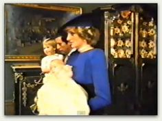 Royal family at christening for Prince Harry. Diana was said to have thought her marriage was over after Harry was born because Charles wanted a girl & didn't want a ginger.