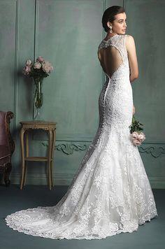 Beautiful open back lace wedding dress. Allure, 2014