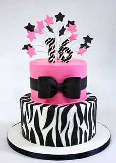 zebra cake - my inspiration. we will see what it ends up looking like :) Pretty Cakes, Cute Cakes, Beautiful Cakes, Amazing Cakes, Pink Zebra Birthday, 16 Birthday Cake, Happy Birthday, 16th Birthday, Pink Zebra Cakes