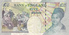 British Banknotes 5 Pound Sterling note 2002 Elizabeth Fry Bank of England Obverse: Portrait of Her Majesty Queen Elizabeth II . Women In History, British History, Female Historical Figures, Pound Sterling, Bank Of England, World Coins, Britain, Fries, About Me Blog