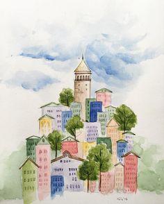 "267 Me gusta, 2 comentarios - Hatice Kahraman (@kupeliagac) en Instagram: ""Günün en güzel saatleri bunlar #galata#design#watercolor#paint#collage#istanbul#happyweekend"""