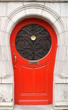 Painted Red Door | Art Nouveau-inspired door in Brussels, Germany | Inspiring Doors of Europe