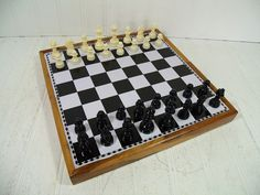 Vintage Metal Chess Board in Wooden Travel Case with Complete Staunton Design Magnetic Chess Men & Checkers Set - GameRoom Equipment Decor $47.00 by DivineOrders