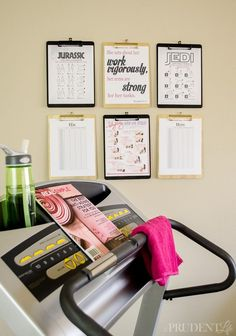 Create a simple clipboard wall by your treadmill with inspiring quotes, workout routines, and pages to track your achievements. Wish I would have thought of this years ago!