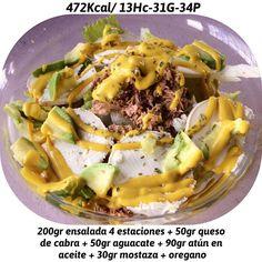 Muy rica ensalada  me encanta la combinación! Aguacate  queso de cabra  atún y mostaza  rico rico jajaja