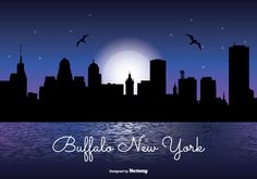 Buffalo New York Night Skyline