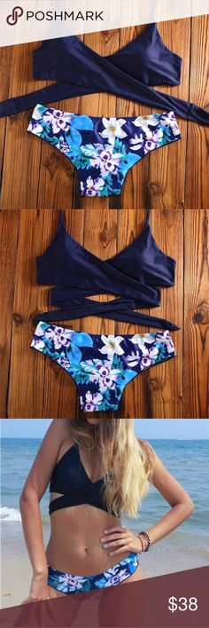 Wrap Navy bikini Adorable navy wrap around swim suit top with tropical floral background panties in blue, purple, and white. Swim Bikinis