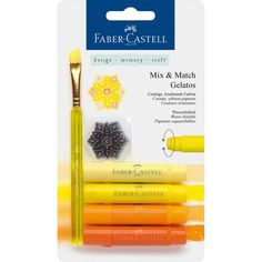 Brand: Faber CastellColor: YellowFeatures: Premium quality Acid-free and odourless Set includes Tangerine, Mango, Lemon and Butter Cream Publisher: Faber CastellDetails: Faber-Castell Gelatos Crayons - Mix & Match Yellow 4005401218012 Fineliner Pens, Faber Castell, Art Loft, Cool Paper Crafts, Passion Planner, Cute School Supplies, Stationery Pens, Pen Sets, Shopping