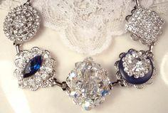 Custom Sapphire Blue & Clear Crystal Rhinestone Bridal Bridesmaid Bracelet, Keepsake Vintage Cluster Earring Silver Wedding Gift