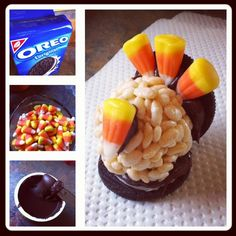 Thanksgiving Turkey Treats for the kids (or big kids too! :D) ! Oreos split in half, canned chocolate icing, rice crispy treat balls and candy corn! So fun! So easy! So delicious!