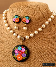 Muti Floral Polymer Clay Pendant with Glass Pearls and Earrings Black Muti Floral Polymer Clay Pendant with Glass Pearls and EarringsBlack Muti Floral Polymer Clay Pendant with Glass Pearls and Earrings Bead Jewellery, Resin Jewelry, Jewelry Art, Beaded Jewelry, Polymer Clay Necklace, Polymer Clay Pendant, Polymer Clay Flowers, Polymer Clay Crafts, Biscuit