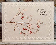 images of cards made boughs and berries embossing folder | One Layer Christmas Cards | Sweet Art Designs by Myrna Sweet