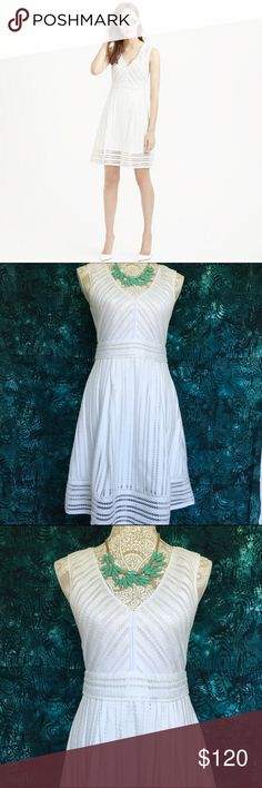 """J. Crew // Striped Eyelet Dress - white Adorable a-line dress with a unique eyelet texture and lightweight material from J. Crew. Expose silver zipper in the back. Fits slightly big, NWT never been worn.   100% polyester  Measurements: Bust 32"""" Waist 28"""" Hip 40"""" Length 37"""" Lining length 32"""" J. Crew Dresses Mini"""