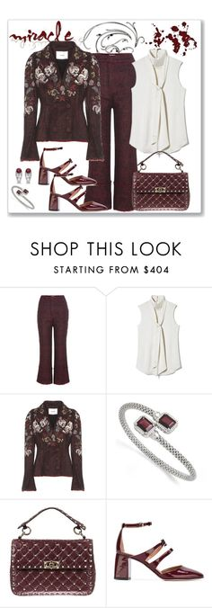 """""""Erdem Marsha Embroidered Tweed Blazer and Pant Look"""" by romaboots-1 ❤ liked on Polyvore featuring Erdem, Vince Camuto, Kevin Jewelers, Valentino, RED Valentino and Allurez"""