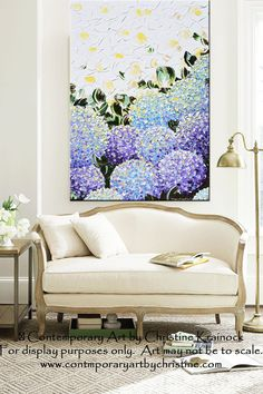 "GICLEE PRINT Art Abstract Painting Hydrangea Modern Purple Lavender Blue White Flowers Canvas Prints Decor LARGE sizes up to 60"" -Christine"