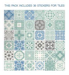 Tegelstickers - Muurstickers voor Tegels voor keuken Pastel Blauw - Een uniek product van Wall-Decals op DaWanda