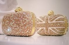 Alexander McQueen gold evening clutches