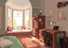 aesthetic anime drawing bedroom bedrooms cartoon rooms drawings living scenery landscape pretty concept dibujos bg doodles done decoration pixel wattpad