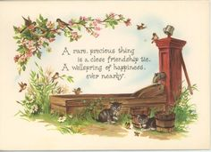 VINTAGE ROBIN BIRD BLUE EGG NEST KITTENS WATER BUCKET GARDEN FLOWERS CARD PRINT in Collectibles, Paper, Other Paper Collectibles   eBay