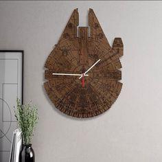 """Wood"" love to fly this Millennium falcon wood clock #millenniumfalcon #starwars #hansolo #geeky #geek #fun #coolidea #greatidea #scifi #time"