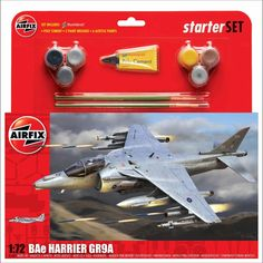 Airfix Starter Sets are ideal for beginners. Unassembled model kit includes glue, two brushes and six acrylic paints. Airfix Models, Airfix Kits, Sci Fi Models, Ho Scale, Plastic Models, Military Aircraft, Scale Models, Fighter Jets, Bae