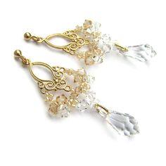 67a3ea0c798271 Slubne kolczyki Swarovski Golden Shadow i Crystal - Lacey - pozłacane  Swarovski, Kryształy, Biżuteria. Anelle - biżuteria ślubna