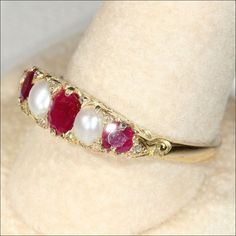 Antique Victorian 18k Gold Ruby & Pearl 5 Stone Ring with Diamonds