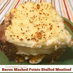 Gluten-free Bacon Mashed Potato Stuffed Meatloaf Recipe - From Val's Kitchen