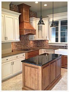 Perfect Kitchen - wooden and white cabinets, dark granite, brick (or dark penny tile) backsplash